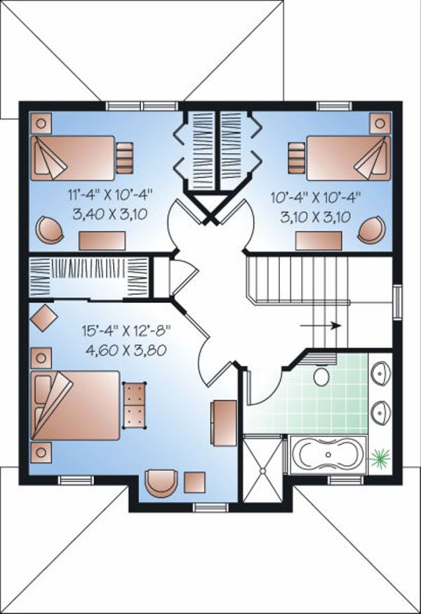 Country Floor Plan - Upper Floor Plan #23-743