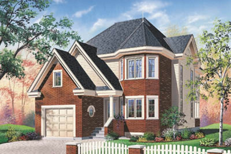 European Style House Plan - 3 Beds 2 Baths 1751 Sq/Ft Plan #23-2014 Exterior - Front Elevation