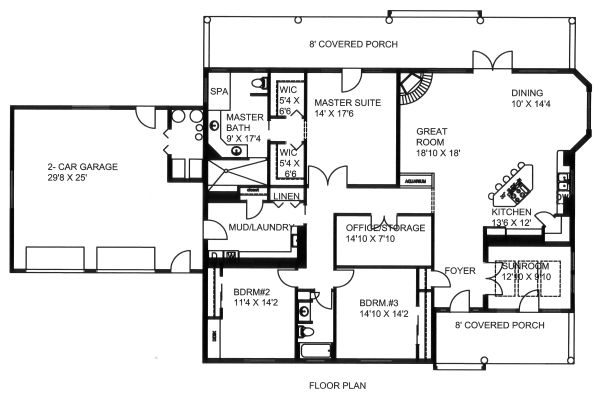 Ranch Floor Plan - Main Floor Plan Plan #117-882