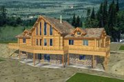 Log Style House Plan - 5 Beds 3.5 Baths 4100 Sq/Ft Plan #117-404 Exterior - Front Elevation