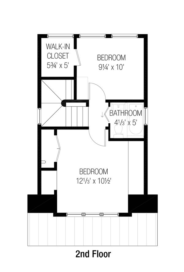 Cottage Style House Plan - 2 Beds 1.5 Baths 777 Sq/Ft Plan #915-1 Floor Plan - Upper Floor Plan