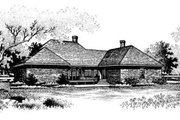 Southern Style House Plan - 4 Beds 4.5 Baths 4038 Sq/Ft Plan #45-174 Exterior - Rear Elevation