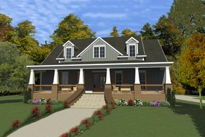 Southern Exterior - Front Elevation Plan #63-391