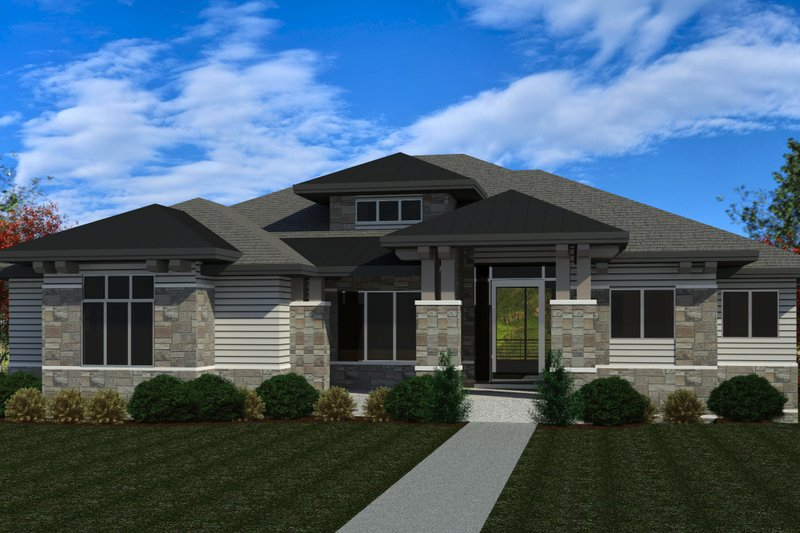 Modern Style House Plan - 3 Beds 4.5 Baths 2991 Sq/Ft Plan #920-123 Exterior - Front Elevation