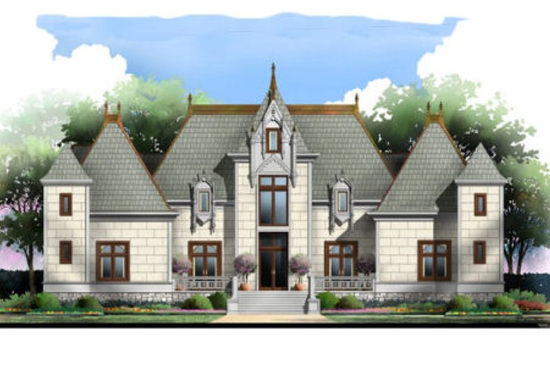 European Style House Plan - 4 Beds 4.5 Baths 4458 Sq/Ft Plan #119-346 Exterior - Front Elevation