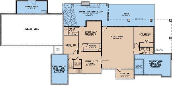 Dream House Plan - Craftsman Floor Plan - Lower Floor Plan #923-189