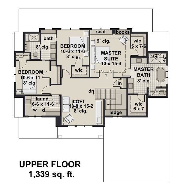 Farmhouse Floor Plan - Upper Floor Plan #51-1148