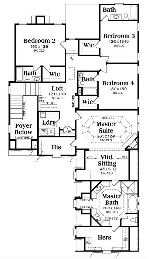 European Floor Plan - Upper Floor Plan Plan #419-233
