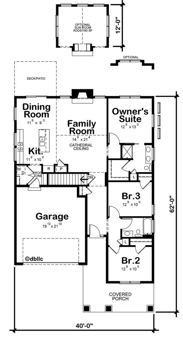 House Plan Design - Cottage Floor Plan - Main Floor Plan #20-2399