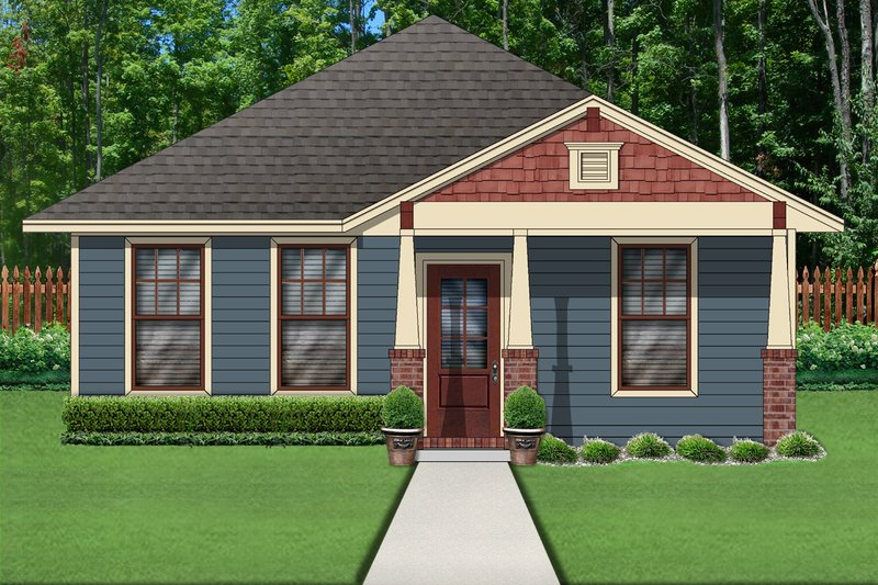 Craftsman Style House Plan - 2 Beds 2 Baths 1074 Sq/Ft Plan #84-621 Exterior - Front Elevation