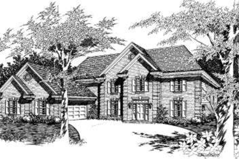 European Style House Plan - 5 Beds 3.5 Baths 3026 Sq/Ft Plan #329-119 Exterior - Front Elevation