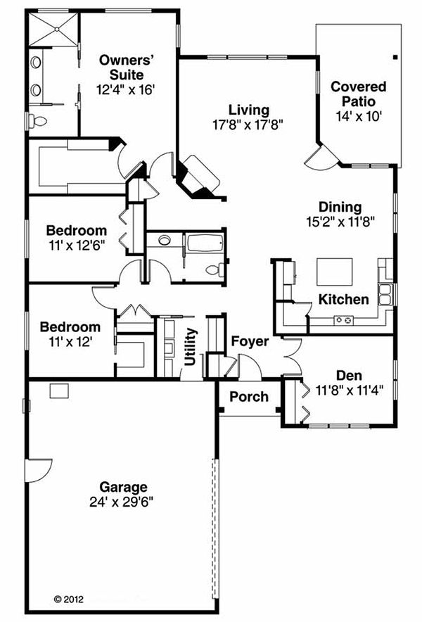 Prairie Floor Plan - Main Floor Plan Plan #124-911