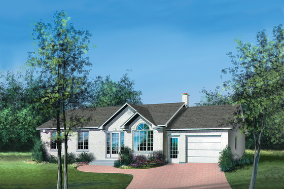 Ranch Exterior - Front Elevation Plan #25-4105