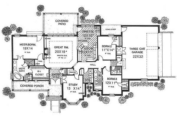 European Floor Plan - Main Floor Plan Plan #310-598