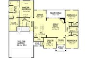European Style House Plan - 3 Beds 2 Baths 1842 Sq/Ft Plan #430-89 Floor Plan - Main Floor