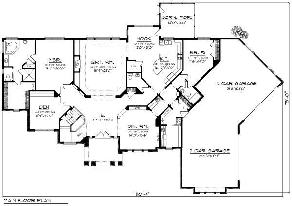 Traditional Floor Plan - Main Floor Plan Plan #70-1183