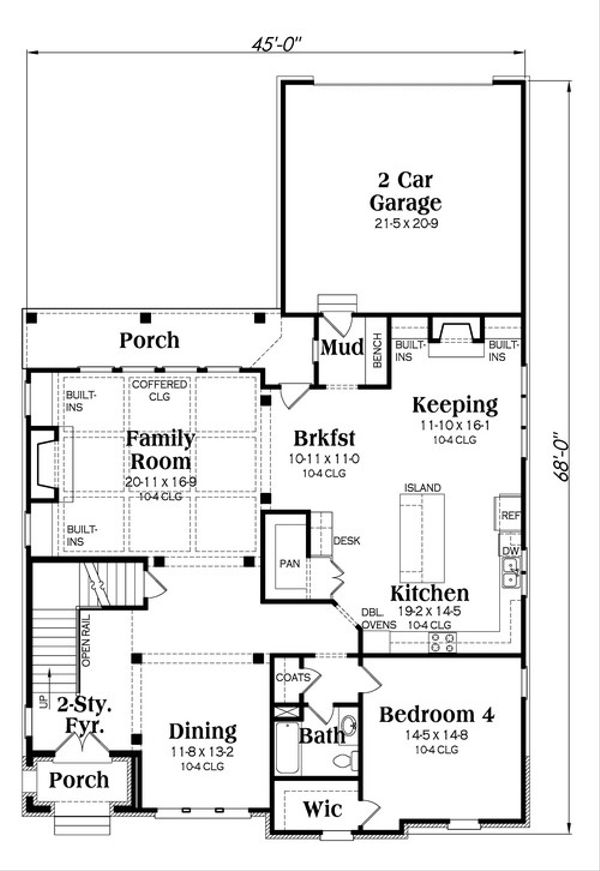 European Floor Plan - Main Floor Plan Plan #419-248