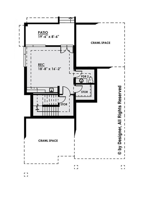 Contemporary Floor Plan - Lower Floor Plan Plan #1066-31