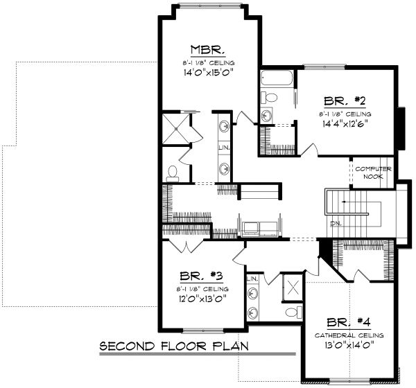European Floor Plan - Upper Floor Plan Plan #70-1181