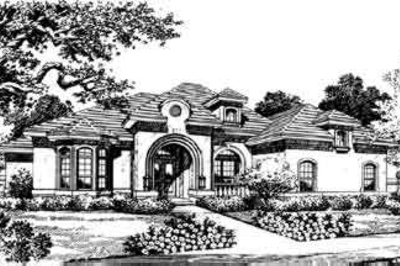 European Style House Plan - 4 Beds 4 Baths 3066 Sq/Ft Plan #135-127 Exterior - Front Elevation