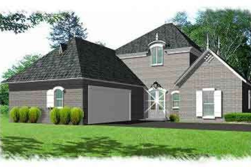 European Exterior - Front Elevation Plan #15-284