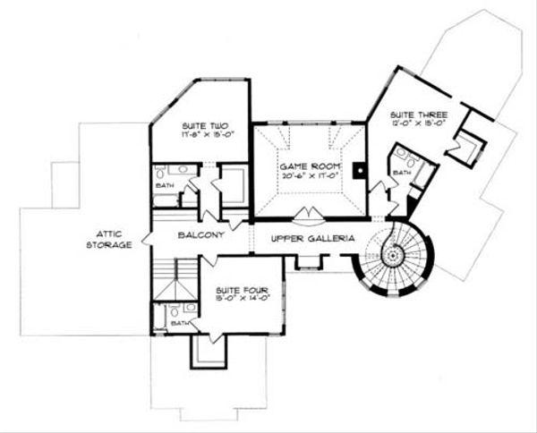 European Floor Plan - Upper Floor Plan Plan #413-120