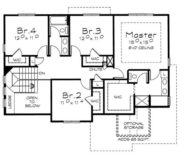 Home Plan - Traditional Floor Plan - Upper Floor Plan #20-2153