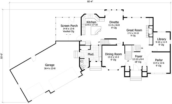 European Floor Plan - Main Floor Plan Plan #51-461