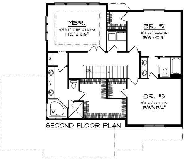 Bungalow Floor Plan - Upper Floor Plan Plan #70-1247