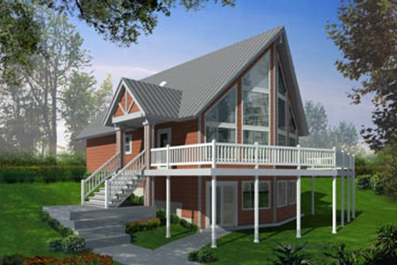 Cabin Exterior - Front Elevation Plan #100-436