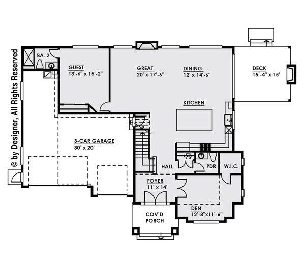 Modern Floor Plan - Main Floor Plan Plan #1066-11