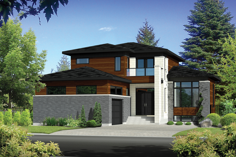 Contemporary Style House Plan - 3 Beds 1.5 Baths 1848 Sq/Ft Plan #25-4300 Exterior - Front Elevation