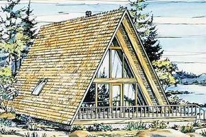 Cabin Exterior - Front Elevation Plan #320-145