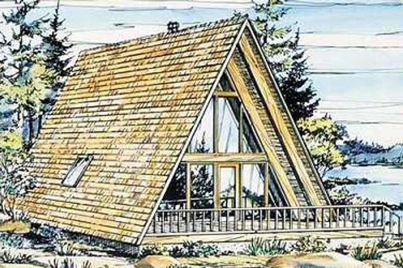 Cabin Exterior - Front Elevation Plan #320-145