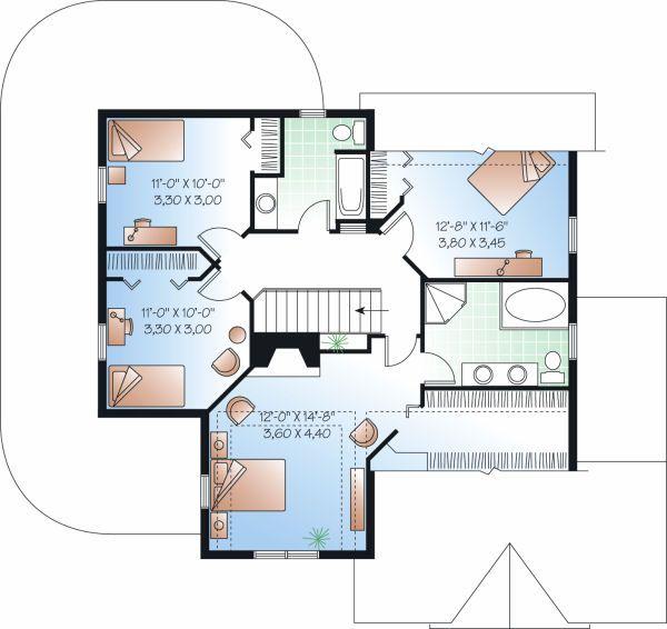 Farmhouse Floor Plan - Upper Floor Plan Plan #23-748