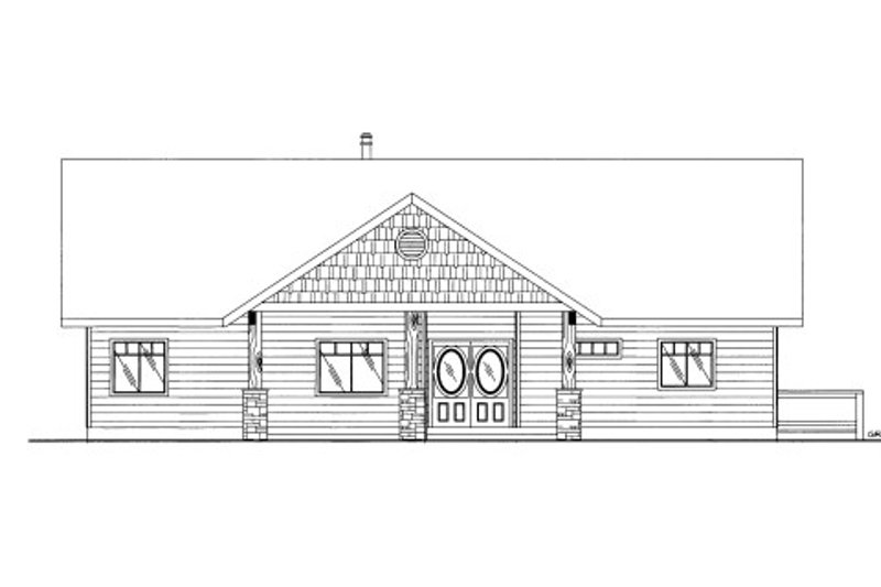 Cabin Style House Plan - 3 Beds 3 Baths 3864 Sq/Ft Plan #117-763 Exterior - Front Elevation