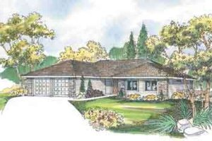 Ranch Exterior - Front Elevation Plan #124-469