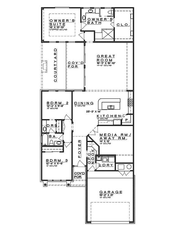 Bungalow Floor Plan - Main Floor Plan Plan #935-8