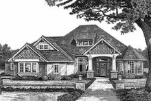 Dream House Plan - Bungalow style, Craftsman design front elevation