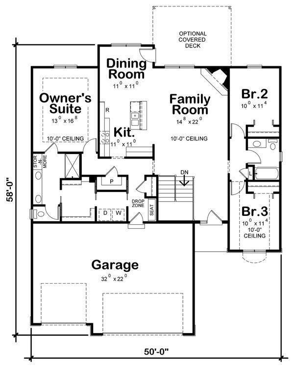 Home Plan - Ranch Floor Plan - Main Floor Plan #20-2321