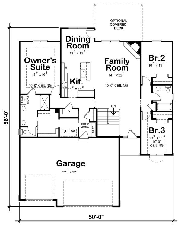 Ranch Floor Plan - Main Floor Plan #20-2321