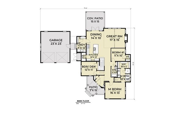 Farmhouse Floor Plan - Main Floor Plan Plan #1070-74
