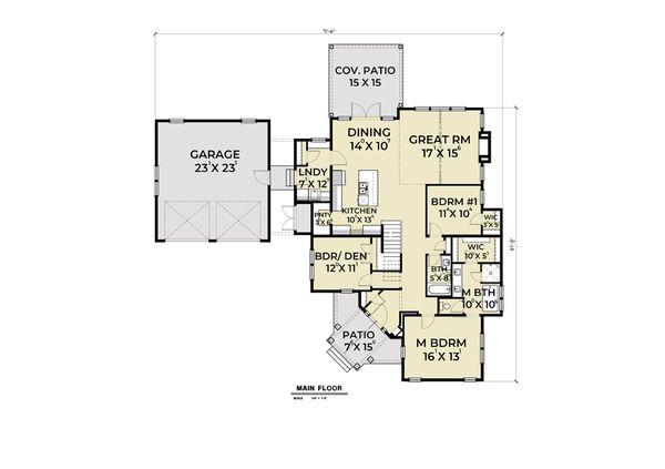 Home Plan - Farmhouse Floor Plan - Main Floor Plan #1070-74