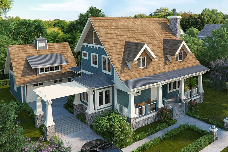 Craftsman Exterior - Front Elevation Plan #942-52