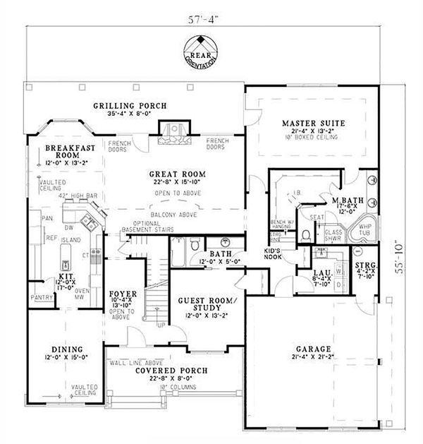 Craftsman Floor Plan - Main Floor Plan #17-2531