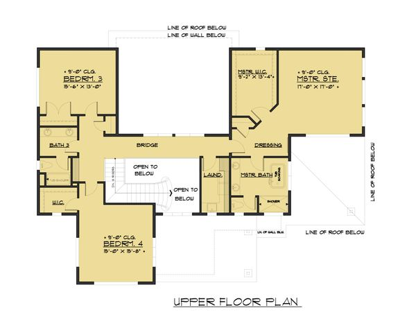 Contemporary Floor Plan - Upper Floor Plan Plan #1066-62