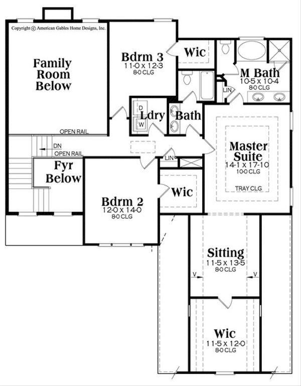 Traditional Floor Plan - Upper Floor Plan Plan #419-278