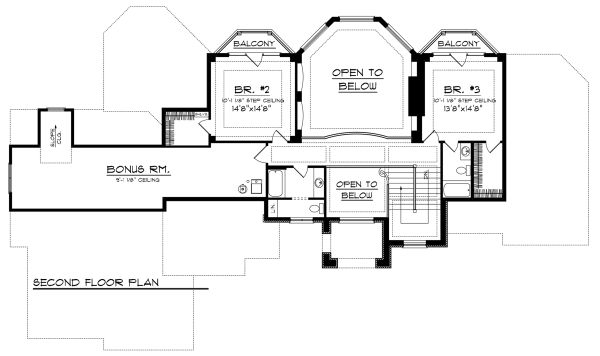 European Floor Plan - Upper Floor Plan Plan #70-1145