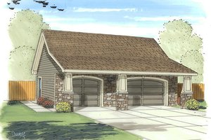 Craftsman Exterior - Front Elevation Plan #455-20