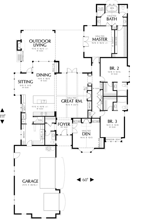 Main Floor Plan - 2900 square foot Traditional home